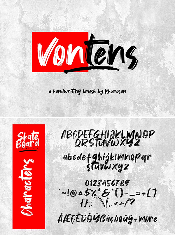 Vontens Brush Font Design