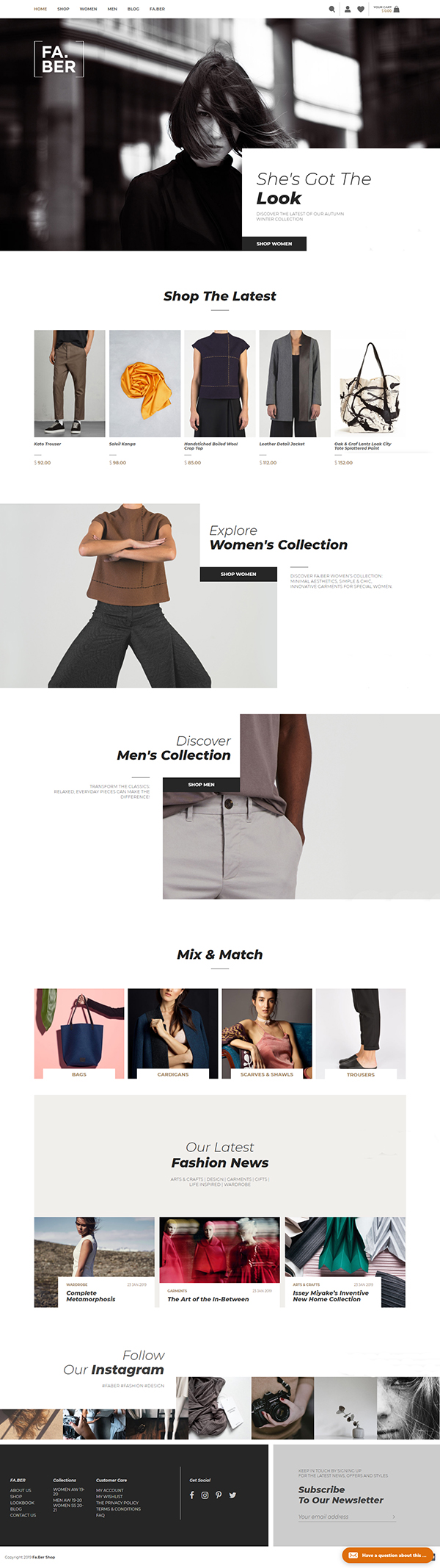 Faber - Woocommerce Fashion Shop & Blog WordPress Theme