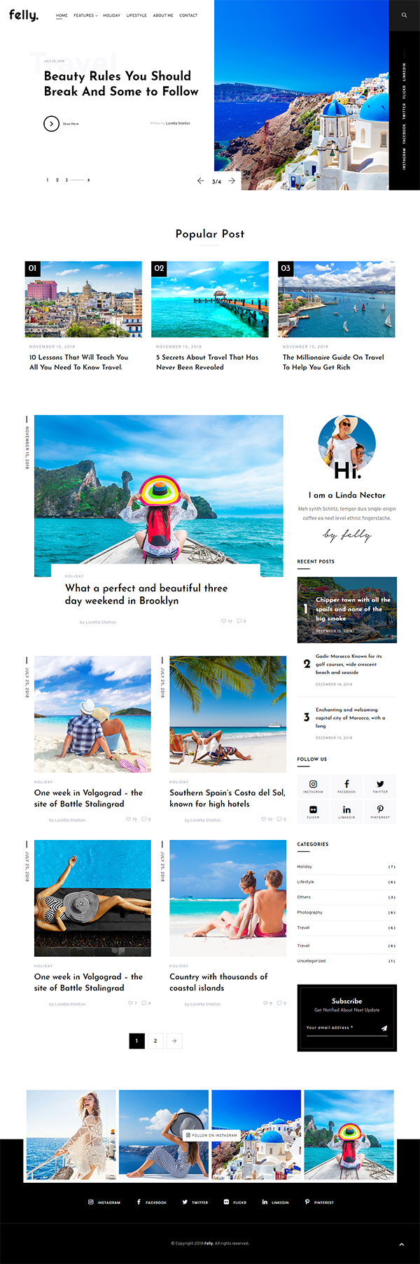Felly | Travel and Fashion WordPress Blog Theme