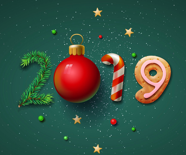 Christmas Graphics 2019.Happy New Year Christmas New Year Greeting Cards 2019