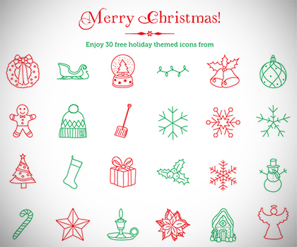 Freebie : Elegant 30 Christmas Line Icons