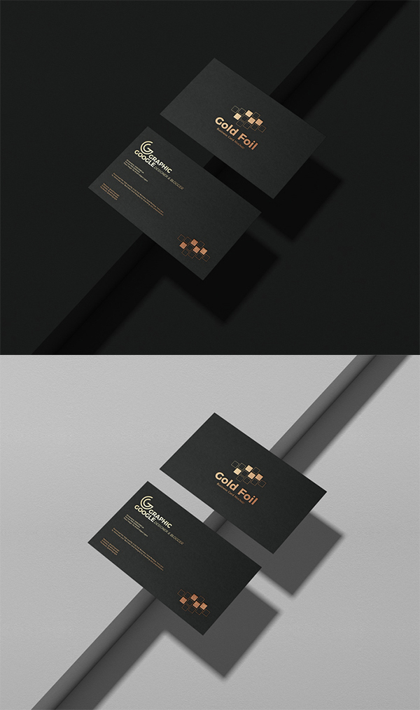 Free Download Creative Black Gold Foil Business Card PSD Mockup