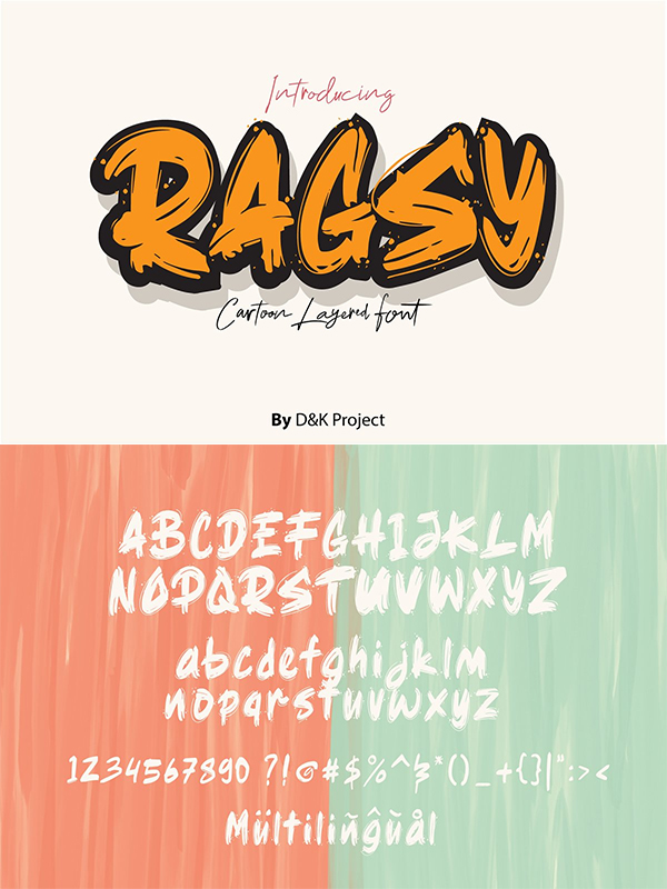 Ragsy | Cartoon layered Font