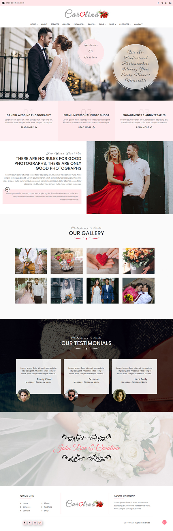 CAROLINA - Photography WordPress Theme