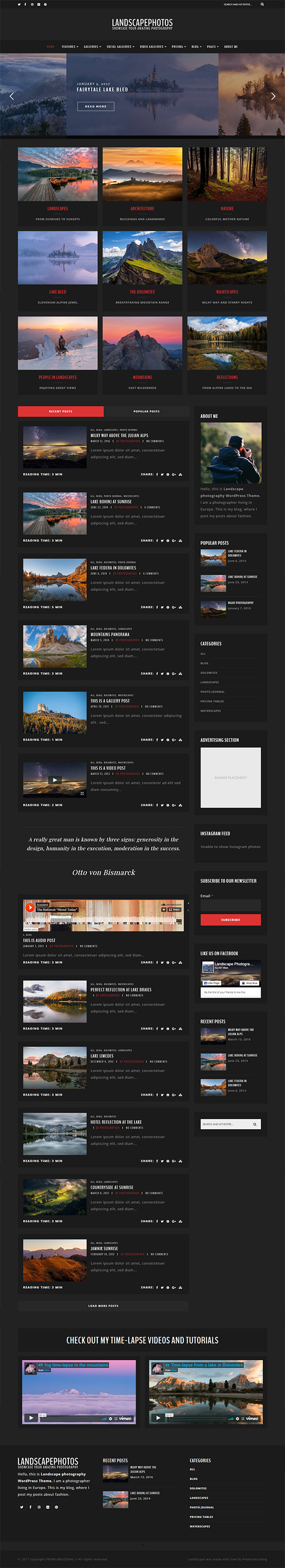 Land - Photography WordPress Theme