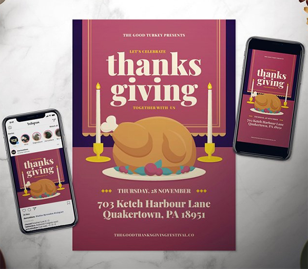 Thanksgiving Day Flyer Set