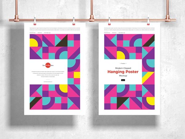 Free Modern Clipped Hanging Poster Mockup