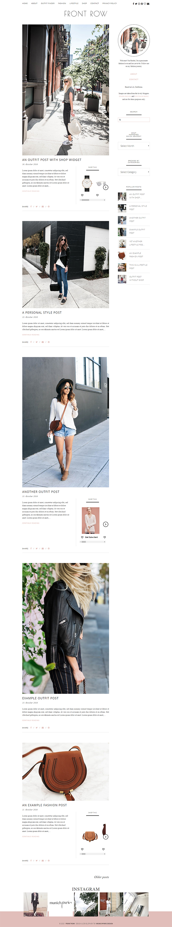 Fashion Blog Shop Theme - Front Row