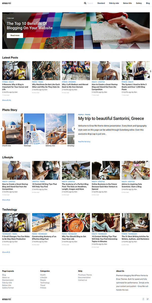 Enso Rei - Gutenberg Blogging Theme