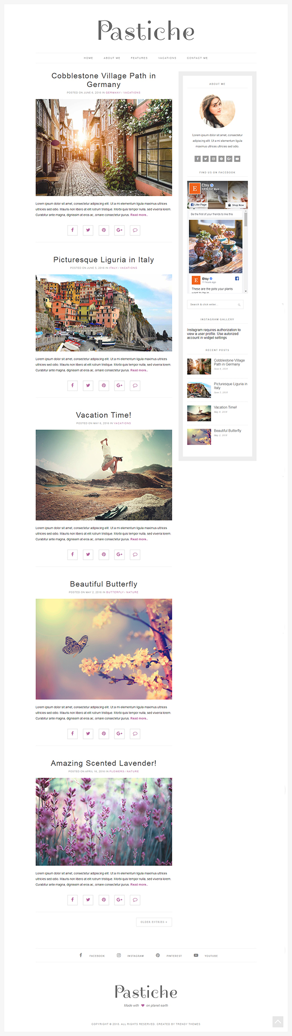 Minimalist WordPress Theme Pastiche