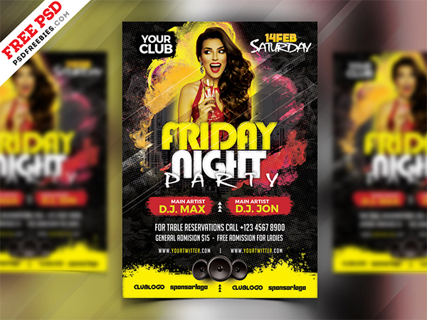 PSD Friday Night Party Flyer Design