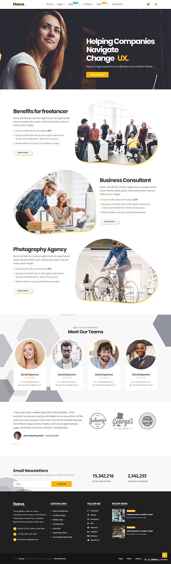 Dana - Corporate Business Multi-Purpose WordPress Themes