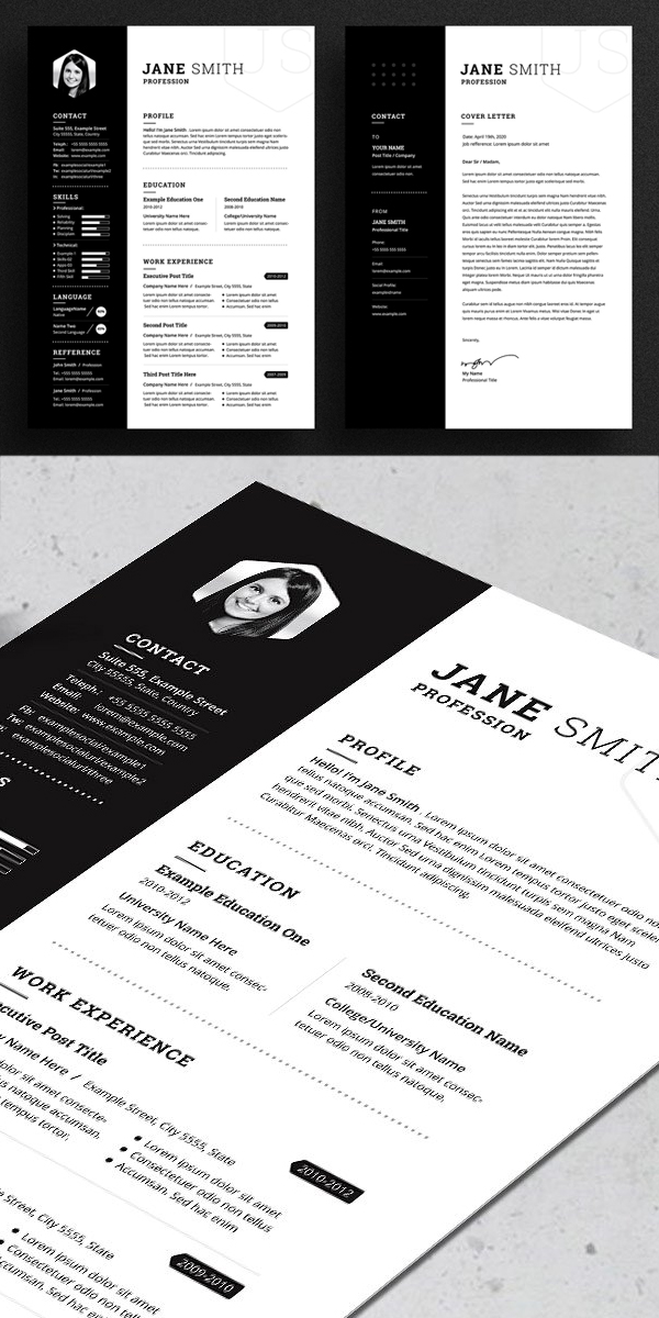 Black White Minimal Resume / CV