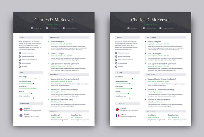 Free PSD One Page Resume Template