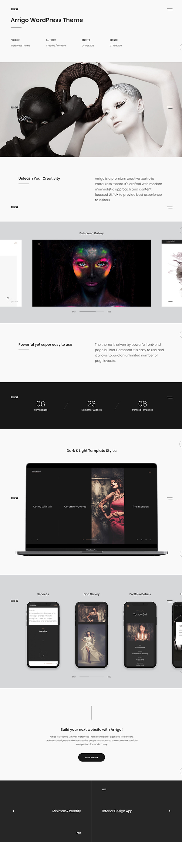 Rubenz - AJAX Creative Portfolio WordPress theme
