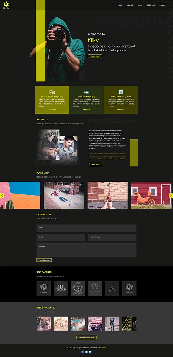 Kliky - Photography Website Template