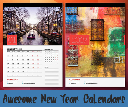 New Year Calendars : Awesome Year 2019 Calendars