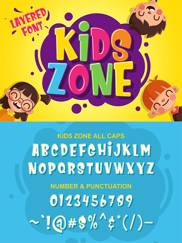 Kids Zone // Layered Font