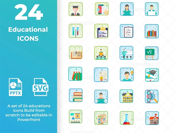 Educational Icon set ready for powerpoint