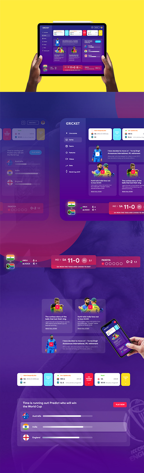 Free Download Awesome ICC Cricket World Cup App Ui (2019)