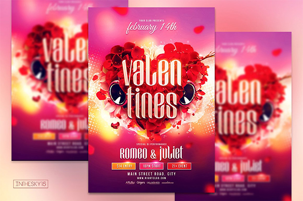 Colorful Valentines Flyer Template