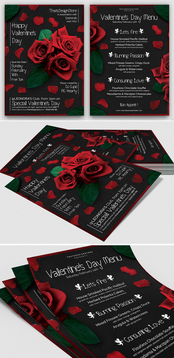 Valentines Day Flyer + Menu Bundle