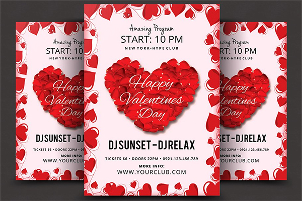 Red Valentines Day Psd Flyer Template