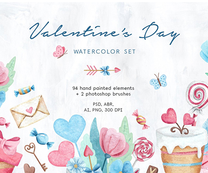 Elegant & Stylish Valentine's Day Watercolor Set Special For Designers