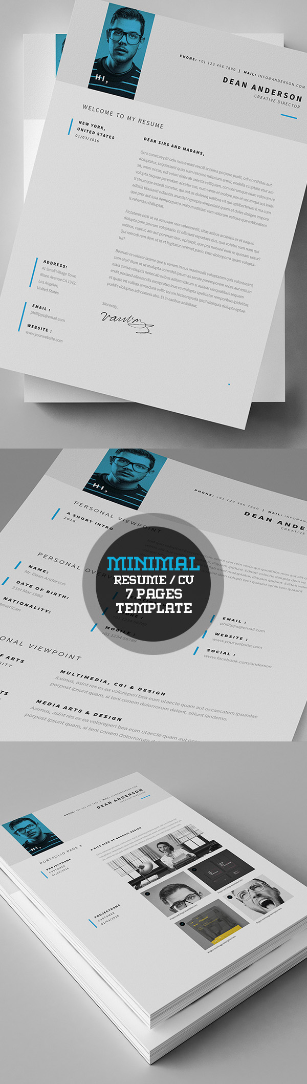 Minimal Resume / Currriculum Vitae (7 Pages) Template