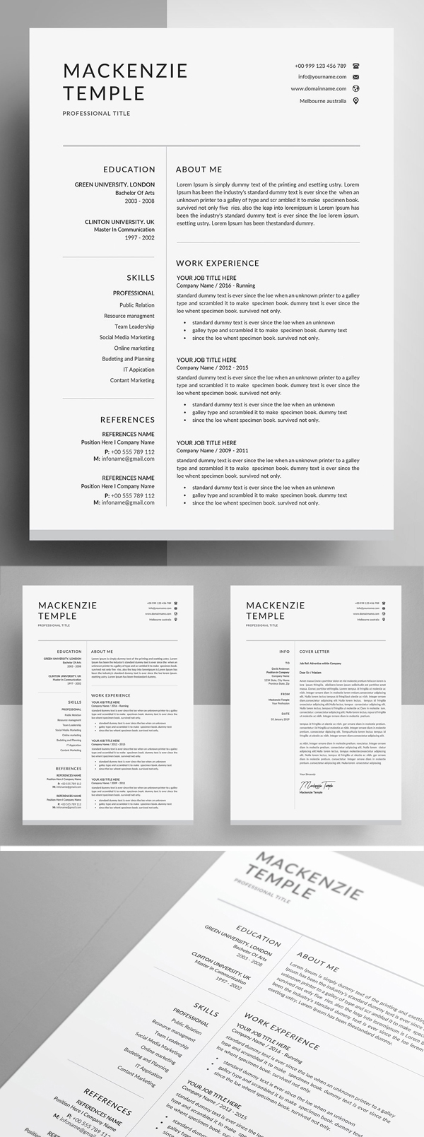 Resume Template CV and Cover Letter