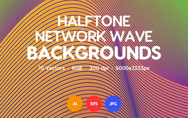 Halftone Network Wave Backgrounds