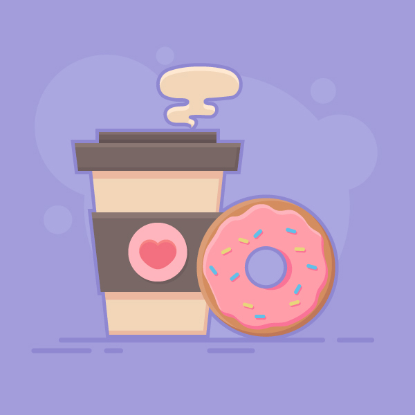 How to Draw a Coffee and Donut Vector in Adobe Illustrator