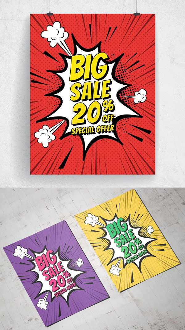 Comic Style Big Sale Poster & Flyer
