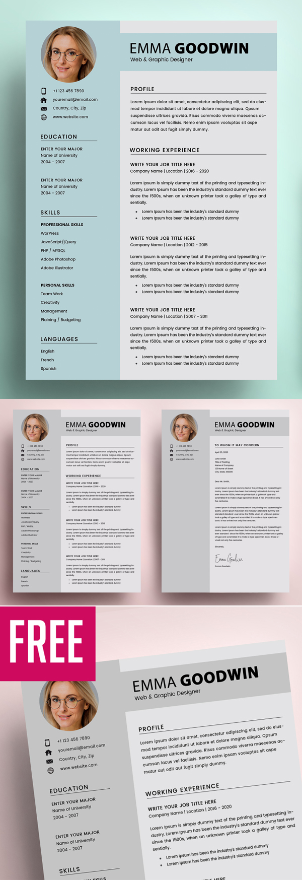 2 page resume   cover letter  u2013 free