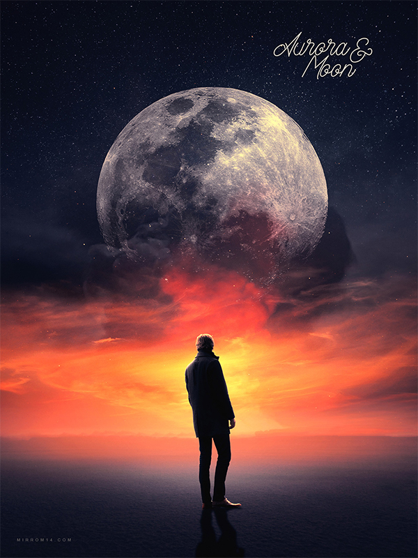 How to Create an Aurora and Moon Photo Manipulation