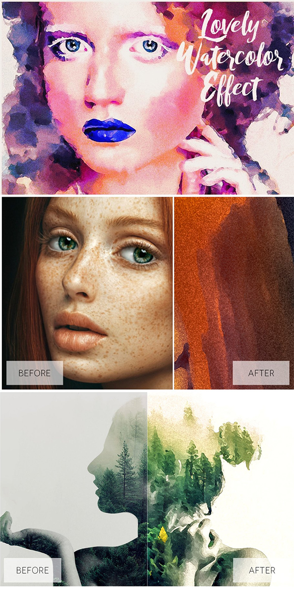 Lovely Watercolor Effect Actions