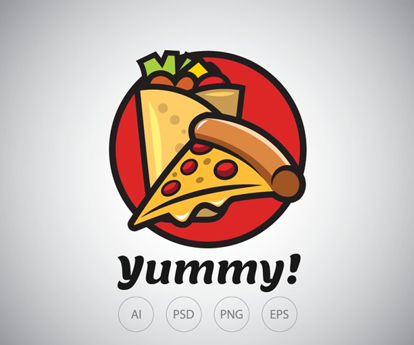 Kebab and Pizza Logo Template
