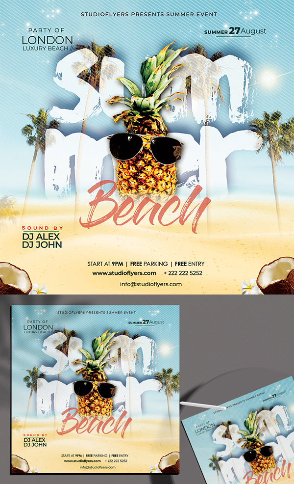 Summer Beach Party Free Flyer PSD Template