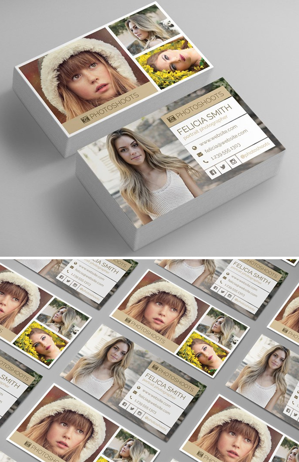 Clean Photographer Business Card Template