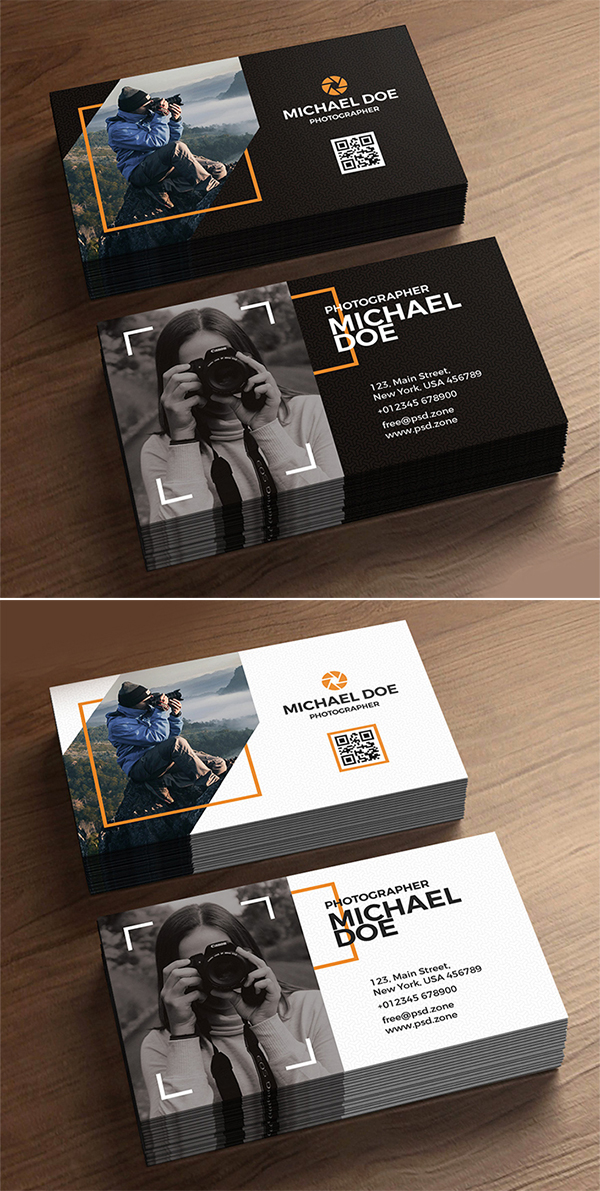Free Stylish Photographer Business Cards Template Design