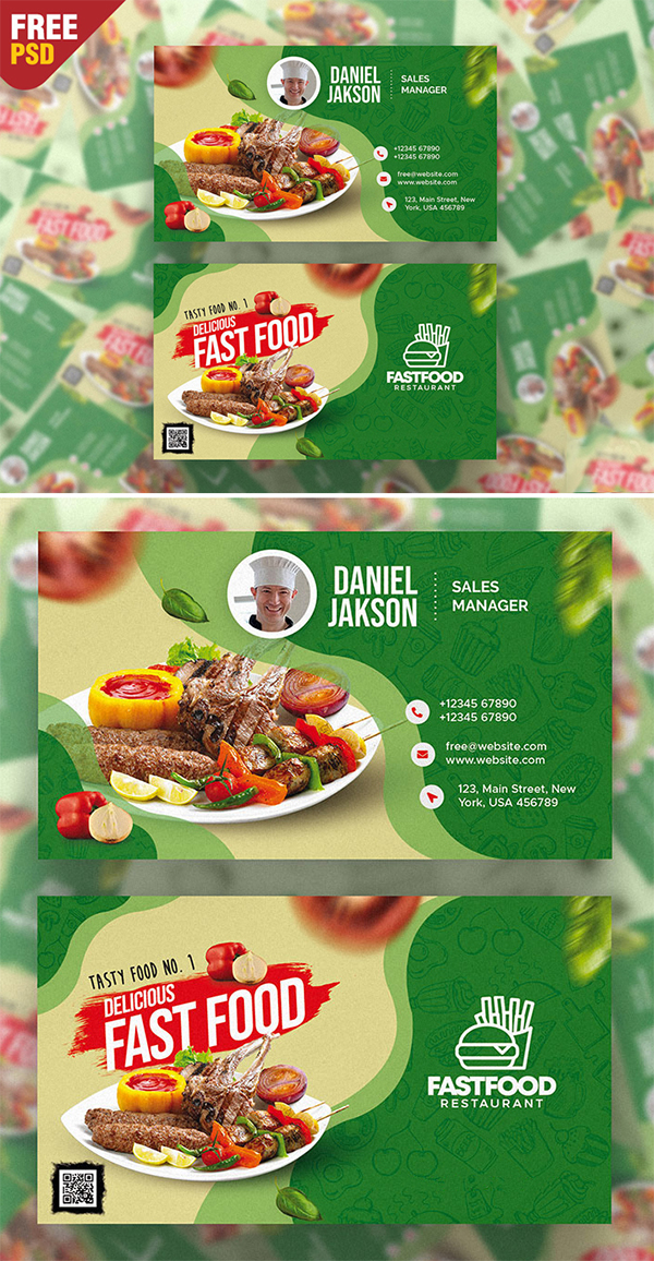 Free Restaurant Business Card PSD Template