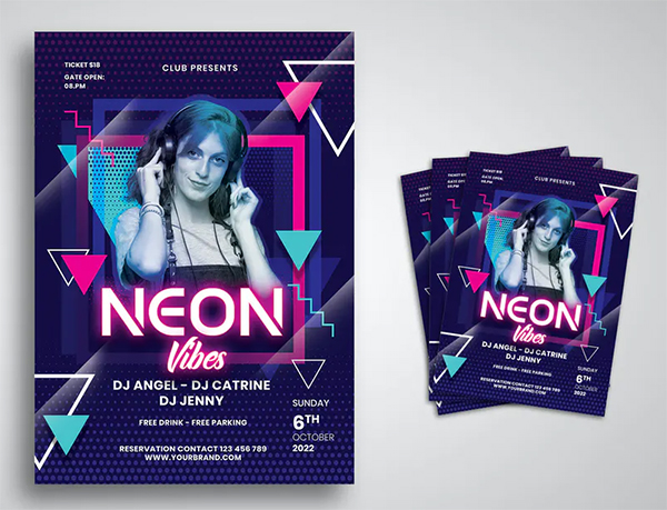 Awesome Neon Party Flyer