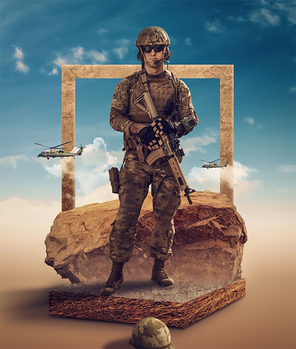 How to Make a Photo Manipulation Titled Armed Forces