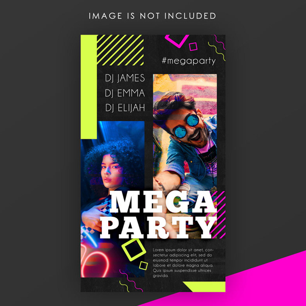 Free Mega Party Instagram Story PSD Template