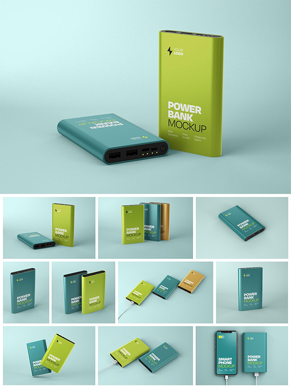 Glossy Power Bank Mockup Set