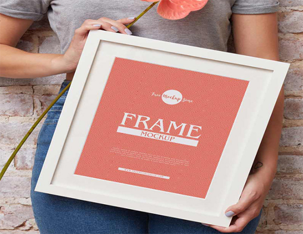 Girl Showing Frame Mockup