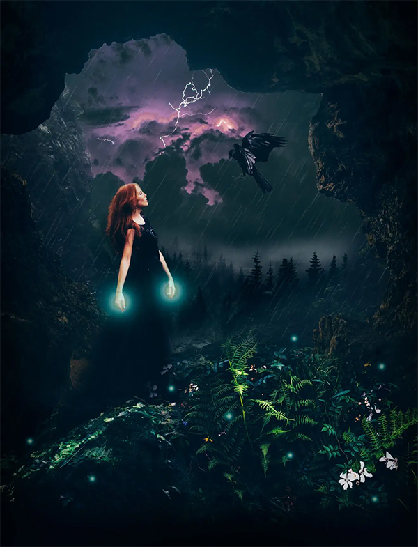 Create a Stormy Fantasy Scene of a Fairy in Photoshop
