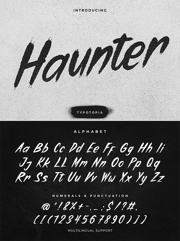 Haunter Brush Display Font