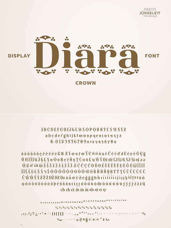 Diara Crown - Decorated Font