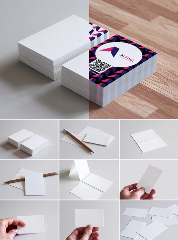 Realistic Business Card Mockups for EU Size